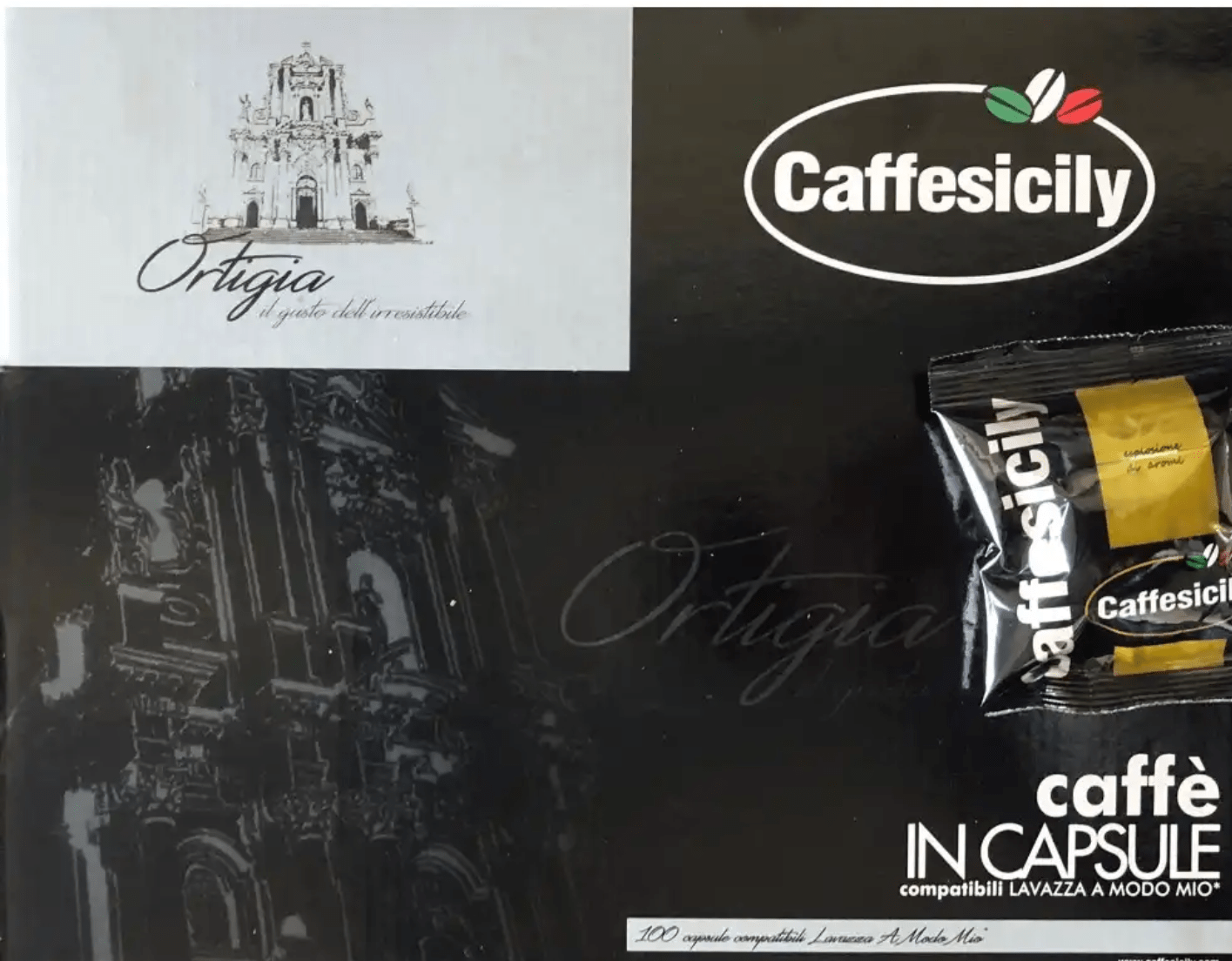 100 CAPSULE COMPATIBILI A MODO MIO CAFFESICILY ORTIGIA MISCELA NERA